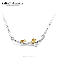 T400 jewelry 925 sterling silver necklace amor bird jewelry with gold