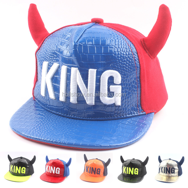 Horn Style KING Embroidery Leather Front Boys Girls Kids Flat Baseball Hat