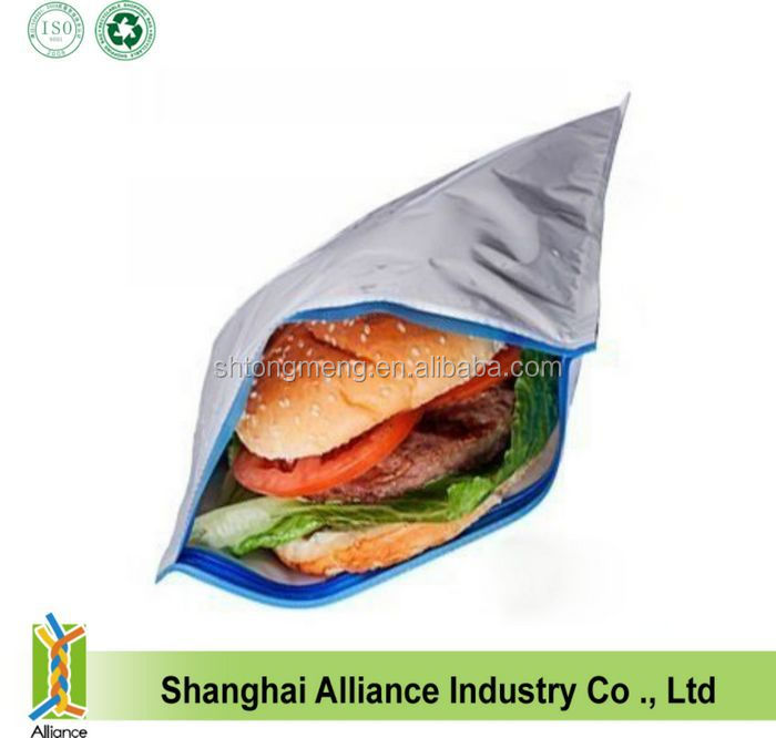 (5 Pack) Insulated Resealable Sandwich Bag / Reusable Thermal Lunch Snack Bento Picnic Pouch(Z-CL-105)