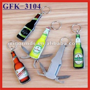 (GFK-3104) 4 N 1 Beer Bottle Shaped Multifunction Opener Knives Keychain Tools