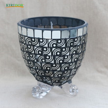 2018 mirrored mosaic glass vase for flower mirror hot selling purple decoration wholesale