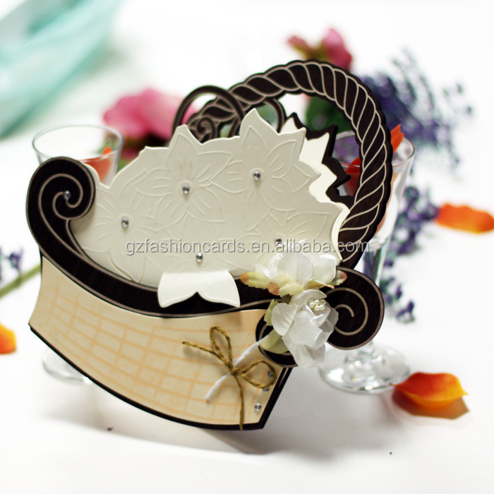 Flower Basket Shaped Wooden Cards/Invitation Wooden Wedding Cards WN020