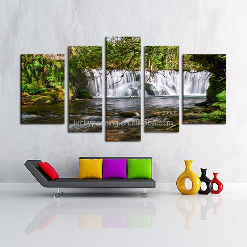 LK586 5 Panel Unframed 5 Panel The Moving Waterfall Large HD Home Decorative Picture Wall Art Print Modern Painting On Canvas F
