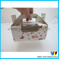 2015 cheapest wholesale paper cupcake take away box with handle