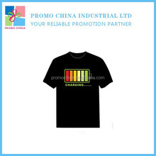 New Arrival EL Led Music Light T Shirt Voice Control T Shirt For Promotion