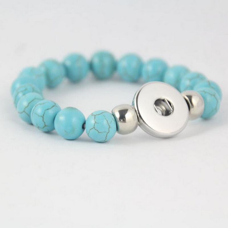 Hot Sales Style Big Strand Ball Natural Stone Beads Snap Button Bracelets Magnetic Buckle Turquoise Beads Bracelet