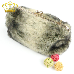 Clip Clasp Locked Imitated Furs Ladies Clutch Bag