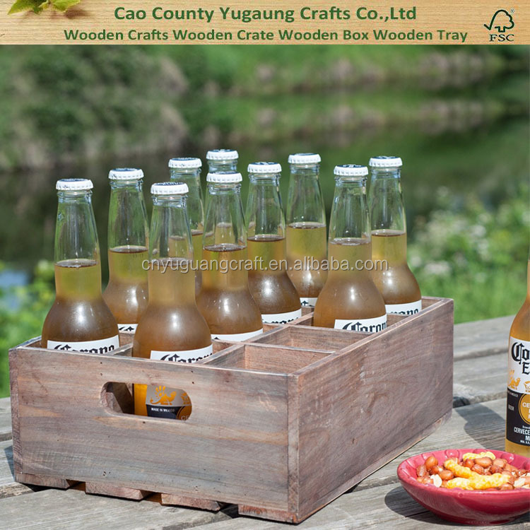 Vintage Finish Rustic Brown Wood 12 Slot Beer Bottle Serving Crate with Carrying Handles