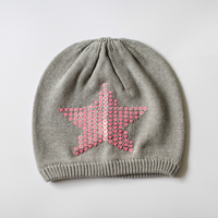 Newest winter children knitted beanie hat fashion embroidered baby cotton hat