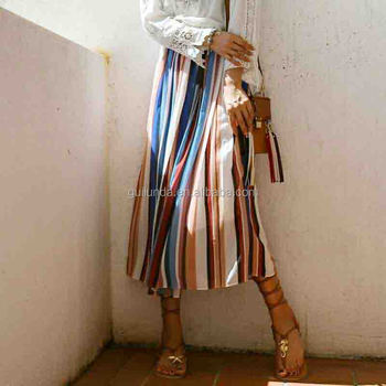 Top quality lady colorful long maxi casual skirt