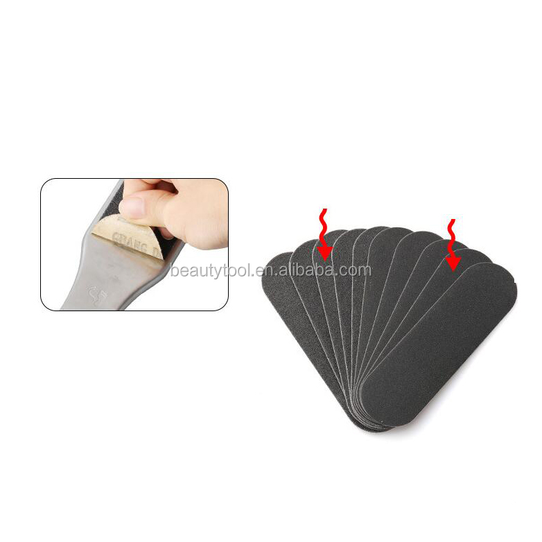 Stainess steel handle dead skin pedicure foot file with refill pad foot file with 10pcs refill paper