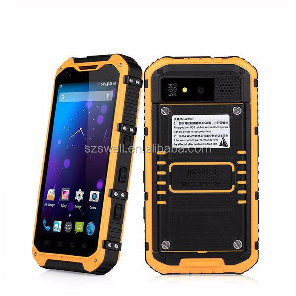 built in stereo Speake Android 4.4 low price single sim card quad core rugged phone ip68 android tablet pc