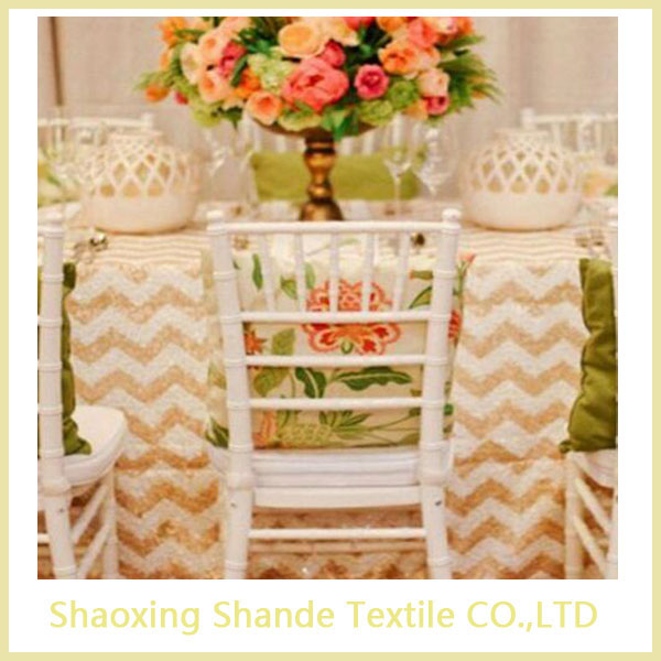 hot sale white and gold chevron sequin table runner