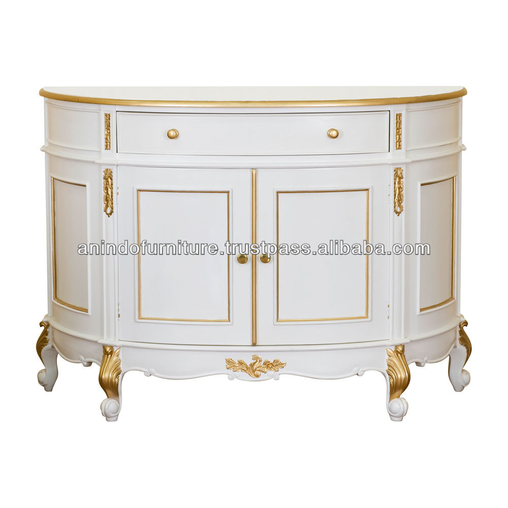 White Gold Half Moon Corner Buffet with Doors and Drawers