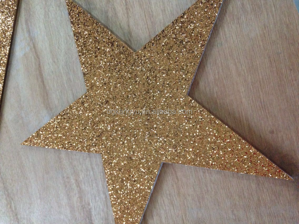 adhesive chunky glitter PVC fabric star christmas decoration