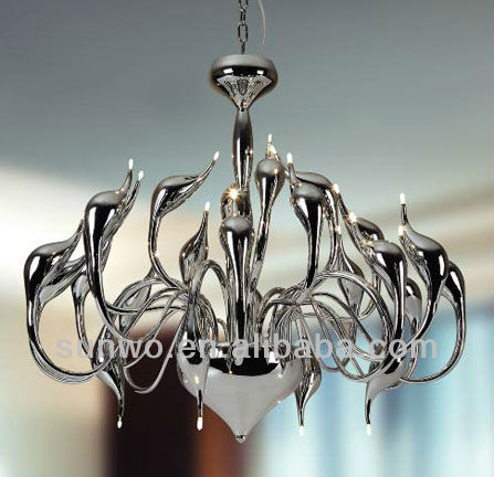 Silver Metal Swan Pendant Lights