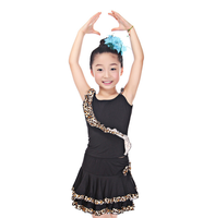 Fashion Kids Black Ballroom Sexy Dresses Children Girls Leopard Lace Costumes Basic Performance Show Latin Dance Dress