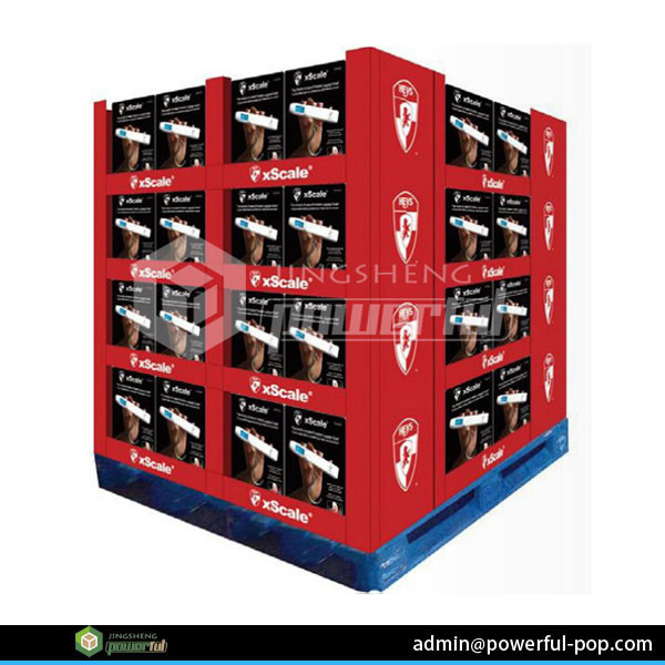 retail auto parts corrugated cardboard full pallet display stands