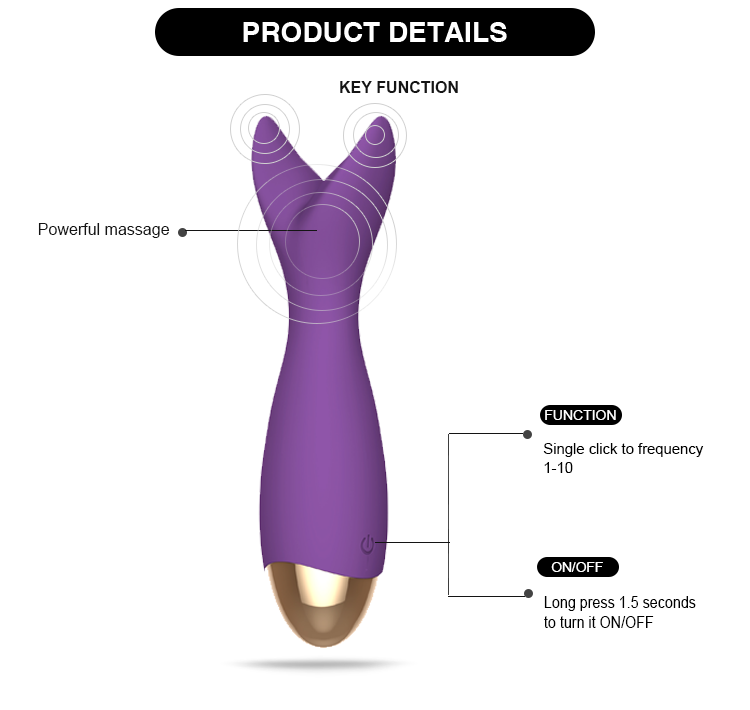 10 Speed Recharge Electric Sex Toy Dual Vibration High Power Sex Vibrator