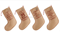 Jute burlap Christmas stocking candy gift bag
