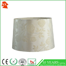 wholesale drum fabric led flat glass material beads wood dome lamp shade