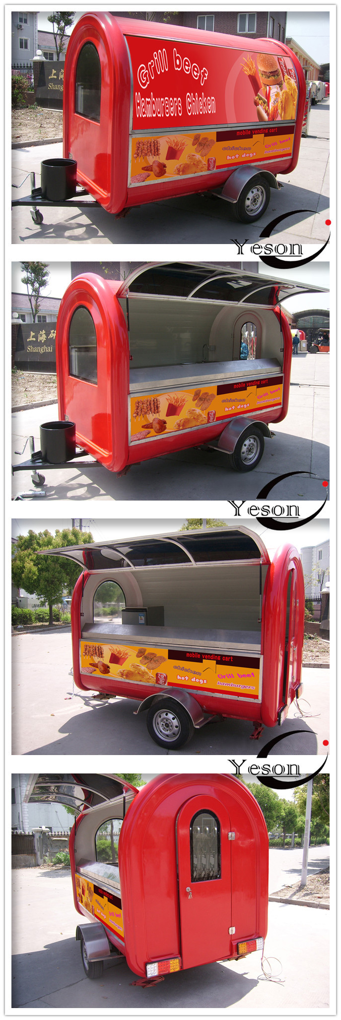 Yieson Made Hot Selling Street Vending Carts/Food truck for sale in china Mobile Fast Kiosk/Fast Mobile Food Trailer FV300