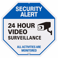 New Product Aluminum Octagon 24 Hours CCTV Warning Signs With Reflective