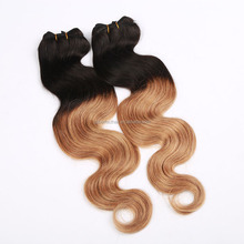 Top Quality long life Remy Human Wet And Wavy Ombre Colored Indian Human Hair Weave