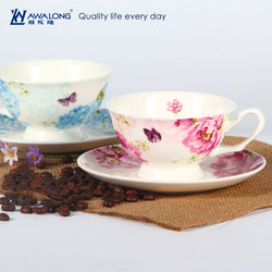 England style coffee cups and saucer / Blue tea cups and saucer with flower pattern / Fine bone China