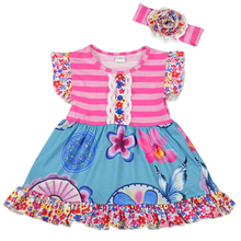 new style vintage baby frock design wetermelon printing dress girls dress