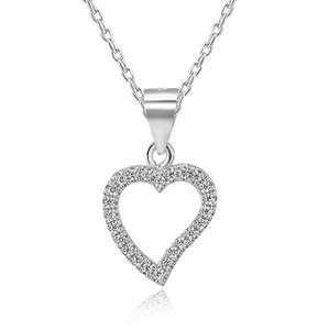 POLIVA Wholesale 925 Sterling Silver Jewelry Cubic Zirconia Simulated Diamond Forever Love Heart Pendant