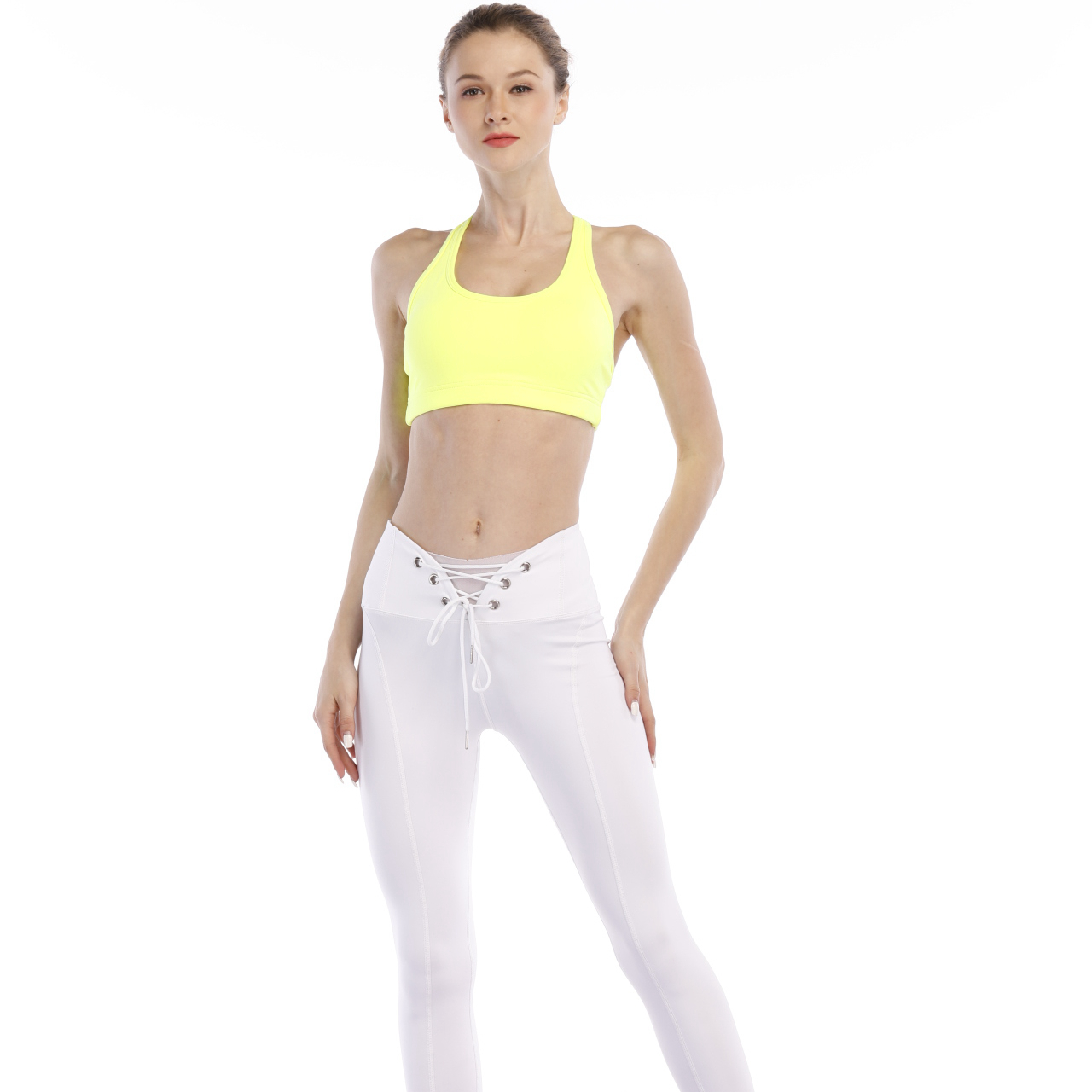 pure white gym wear slimming waist lace yoga pants