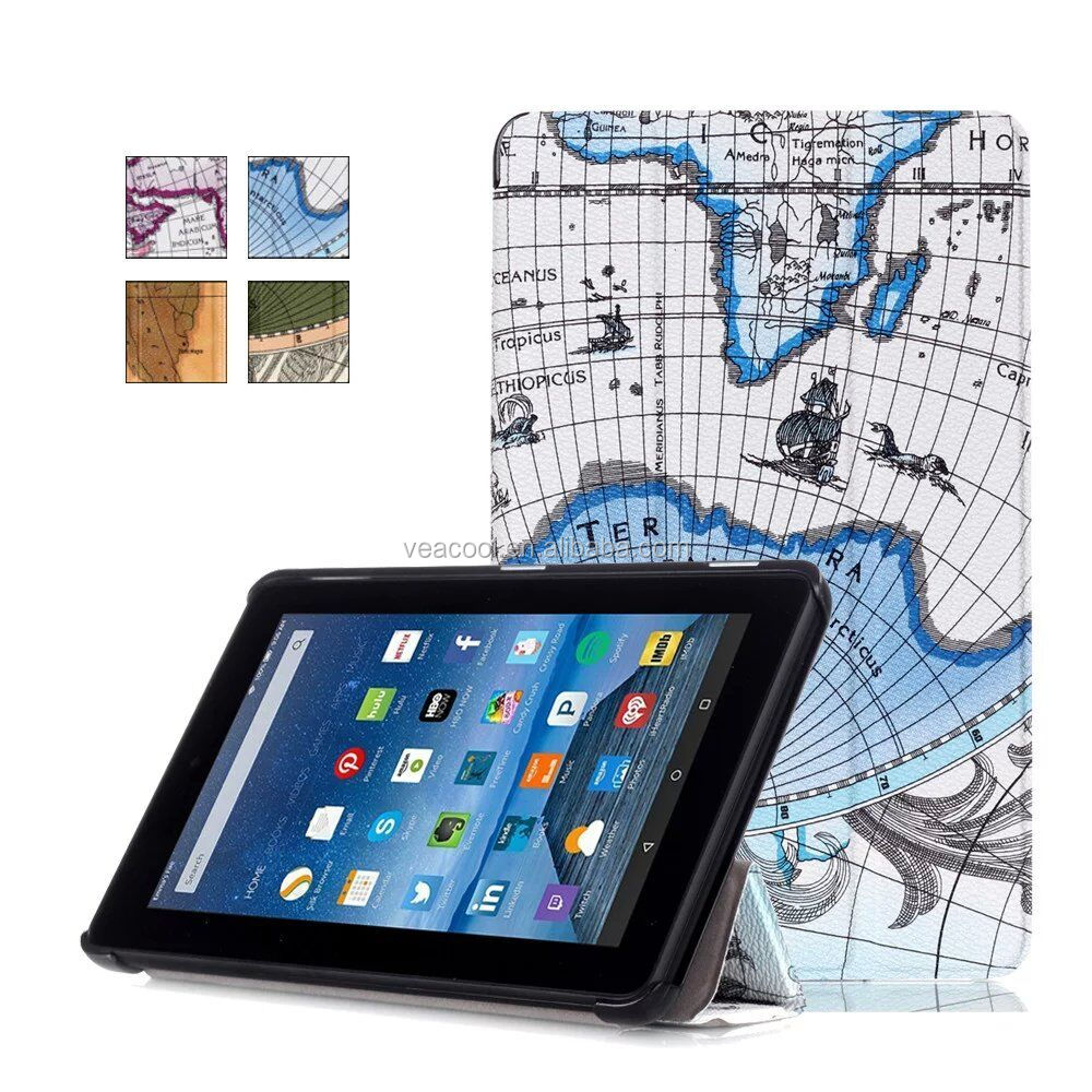 New The Map Tri Fold PU Leather Tablet Case Cover for Amazon Kindle Fire 7 Inch 2015
