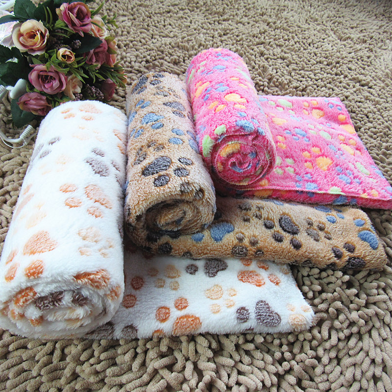 blanket with embroidered Pet Paw Print Blanket colar fleece dog cat litter mat