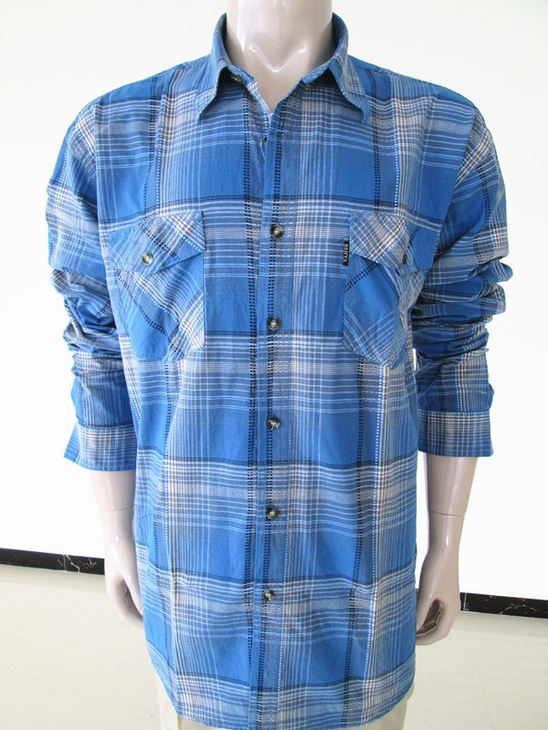 Wholesale branded short sleeve blue color plaids men dress shirt