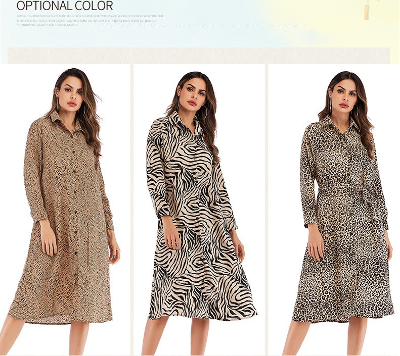 2019 spring and summer fashion new long-sleeved lapel fastener printed leopard print chiffon dress