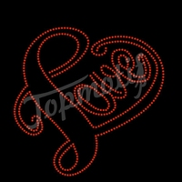 bling love with heart design by rhinestone made clothing transfer on garments