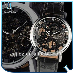 New Men's Black Leather Hand-Wind Up Luxury Skeleton Dial Mechanical Wrist Watch