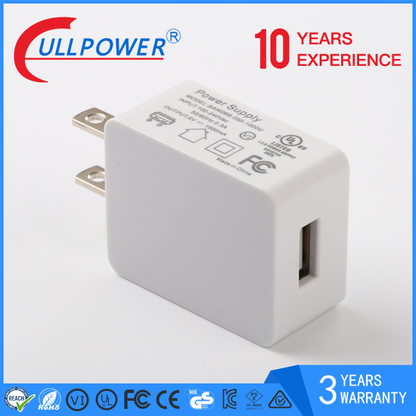 Factory price power adapter 5v 1a mini usb charger 5W 1000mA adaptor with UL FCC