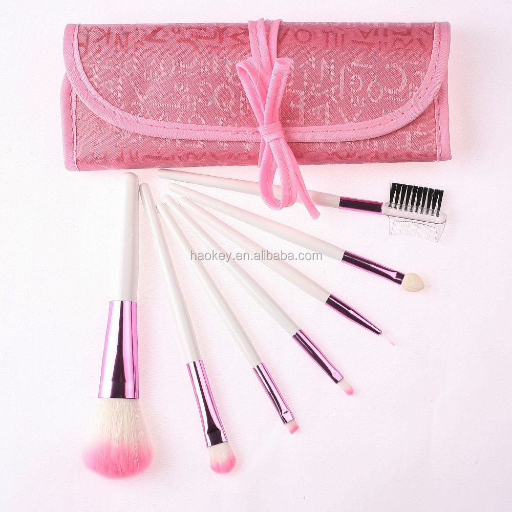7Pcs Hot Pink Color Makeup Brush Set With Mini Bag Tool For Makeup Studio