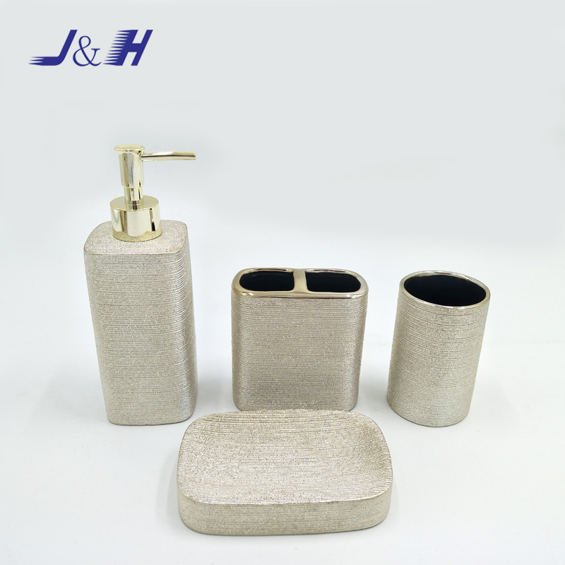 Elegant Bathroom Set Ceramic Bathroom Accessories with Silver Plated Finish