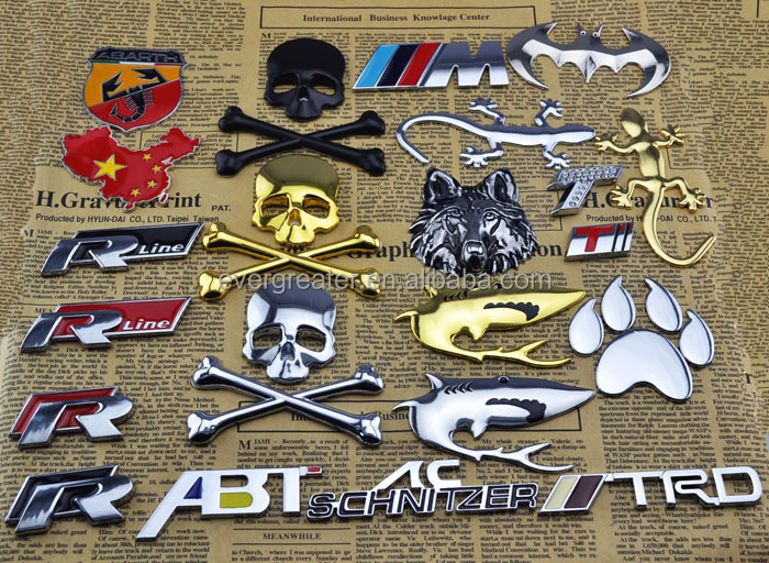 3M custom made badges car logo gold letter badge car chrome emblem chrome letter car badge