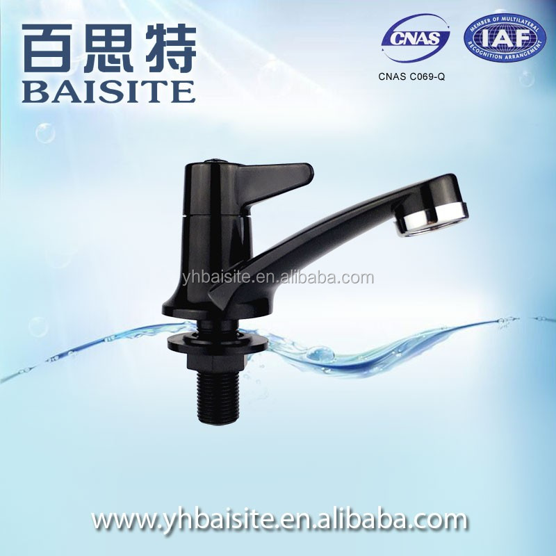 Professional Black Water Saving Sanitary Item Plastic Mixer Tap Basin Sink Waterfall Faucet