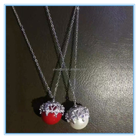 Korean fashion diamond with pearl pendant necklace for Christmas gift