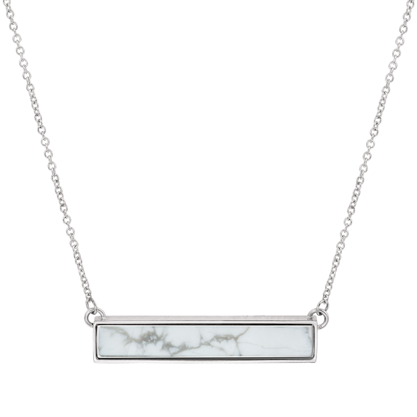 Online Selling Howlite White Marble Stone Bar Necklace