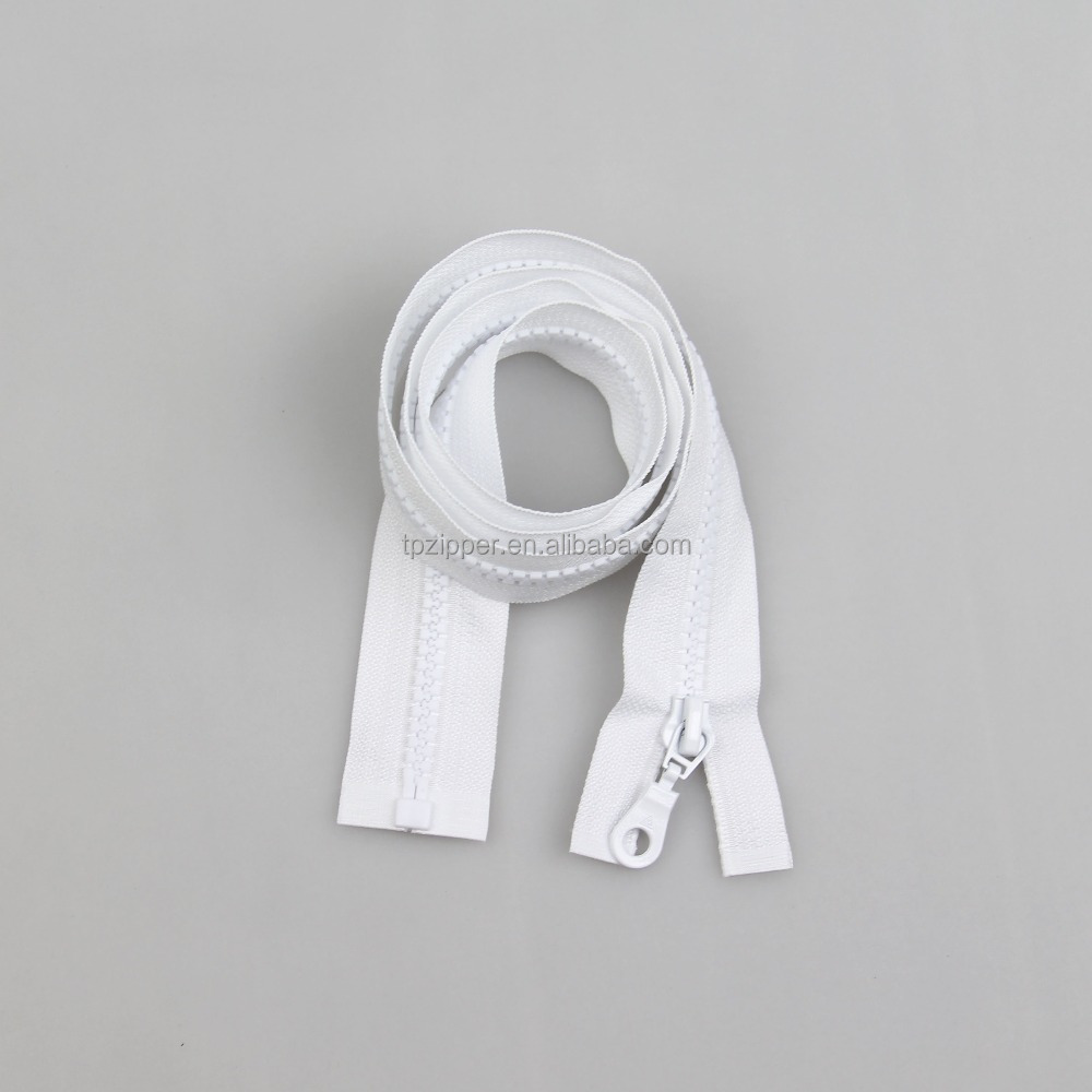 White Zippers Long Chain Roll Resin Teeth Zippers Plastic