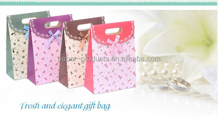 printed custom made unique packaging paper bag/shopping bag /gift bag with velcro