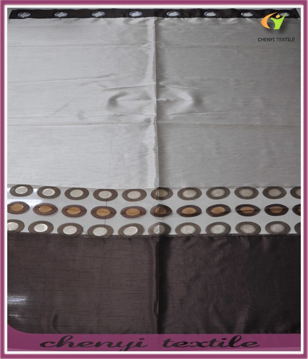 circle flocking faux silk curtain for living room
