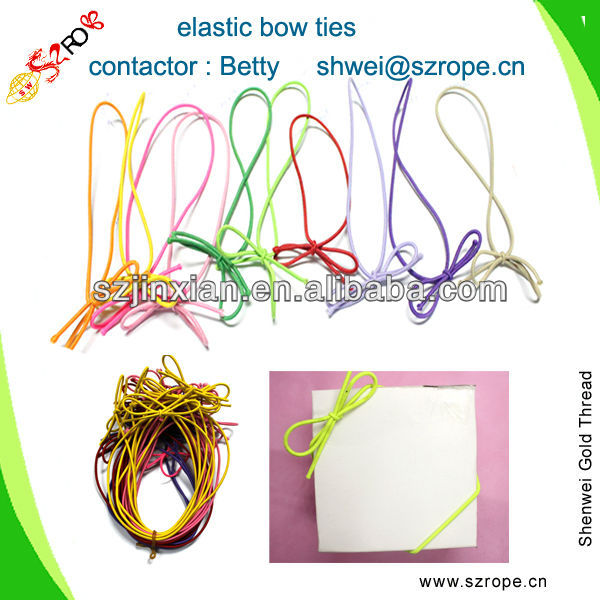 colored elastic gift wrapping string,pre-made ribbon bow