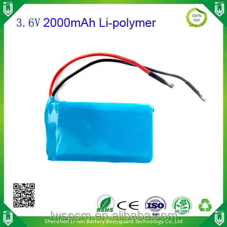 Factory supply LiPo battery pack 2000mAh 3.6V battery with BMS